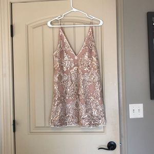 FREE PEOPLE Night Shimmers Dress - Gold - Size 4